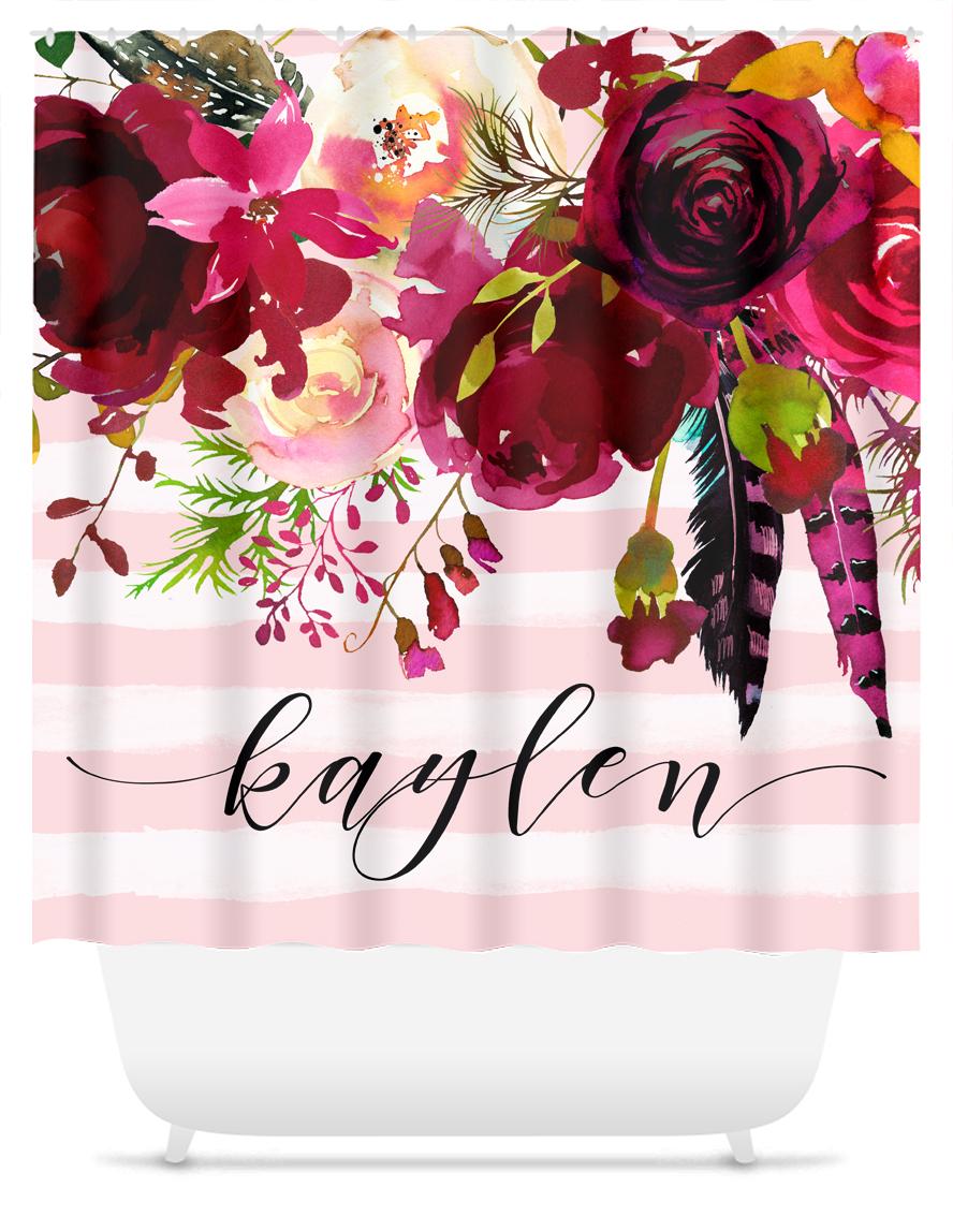 Monogram Shower Curtain Bardo Floral W Pink Stripes