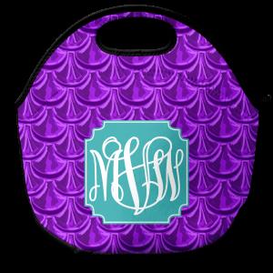 Mermaid scales purple lunch tote