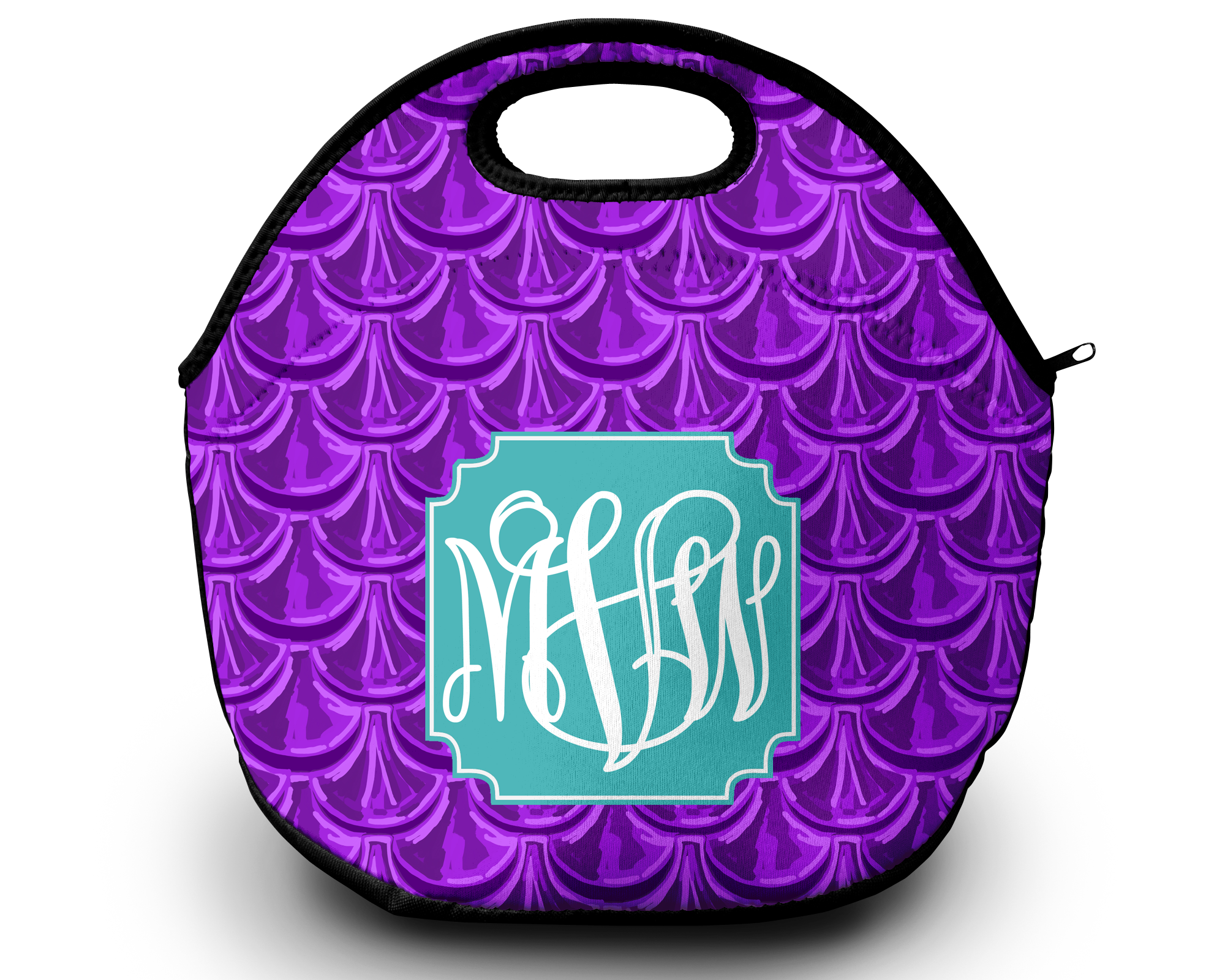 Monogram Lunch Bag Mermaid Scales Purple Sassy Southern Gals