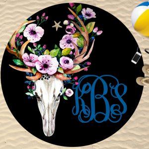 bull head round towel mock up