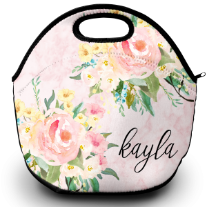 marble flowers lunch tote png
