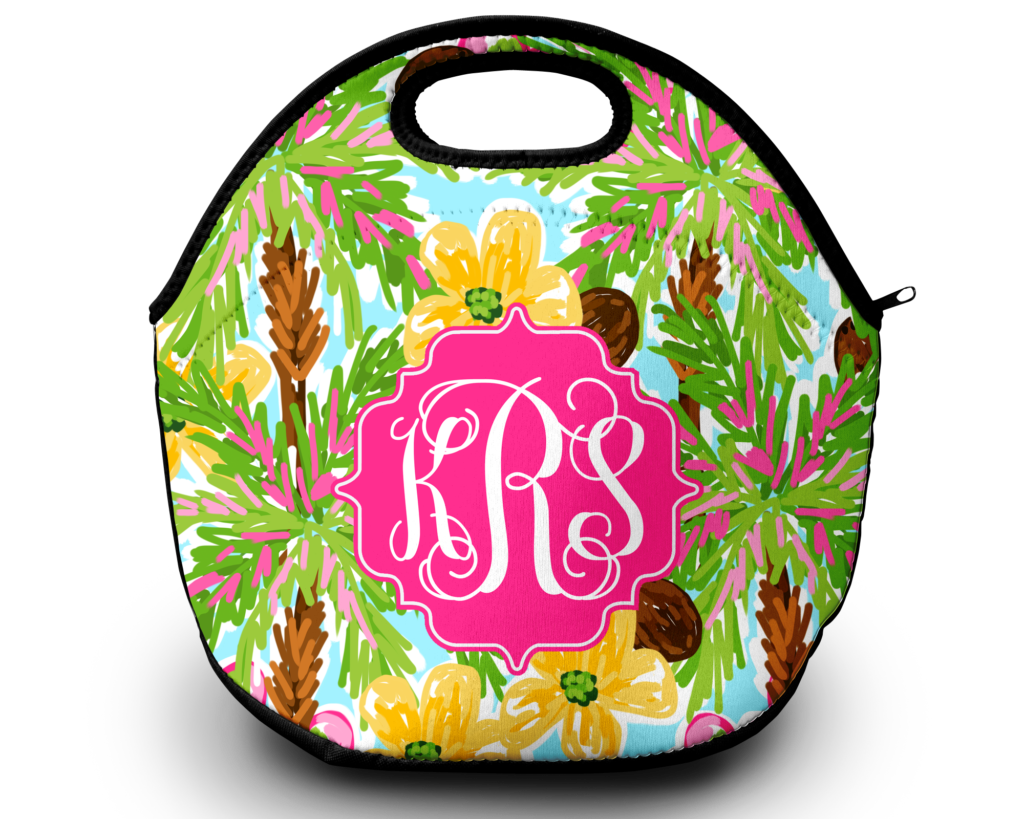 Monogram Lunch Bag Shady Palms Sassy Southern Gals
