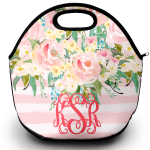 pastel flowers stripes lunch tote png 2
