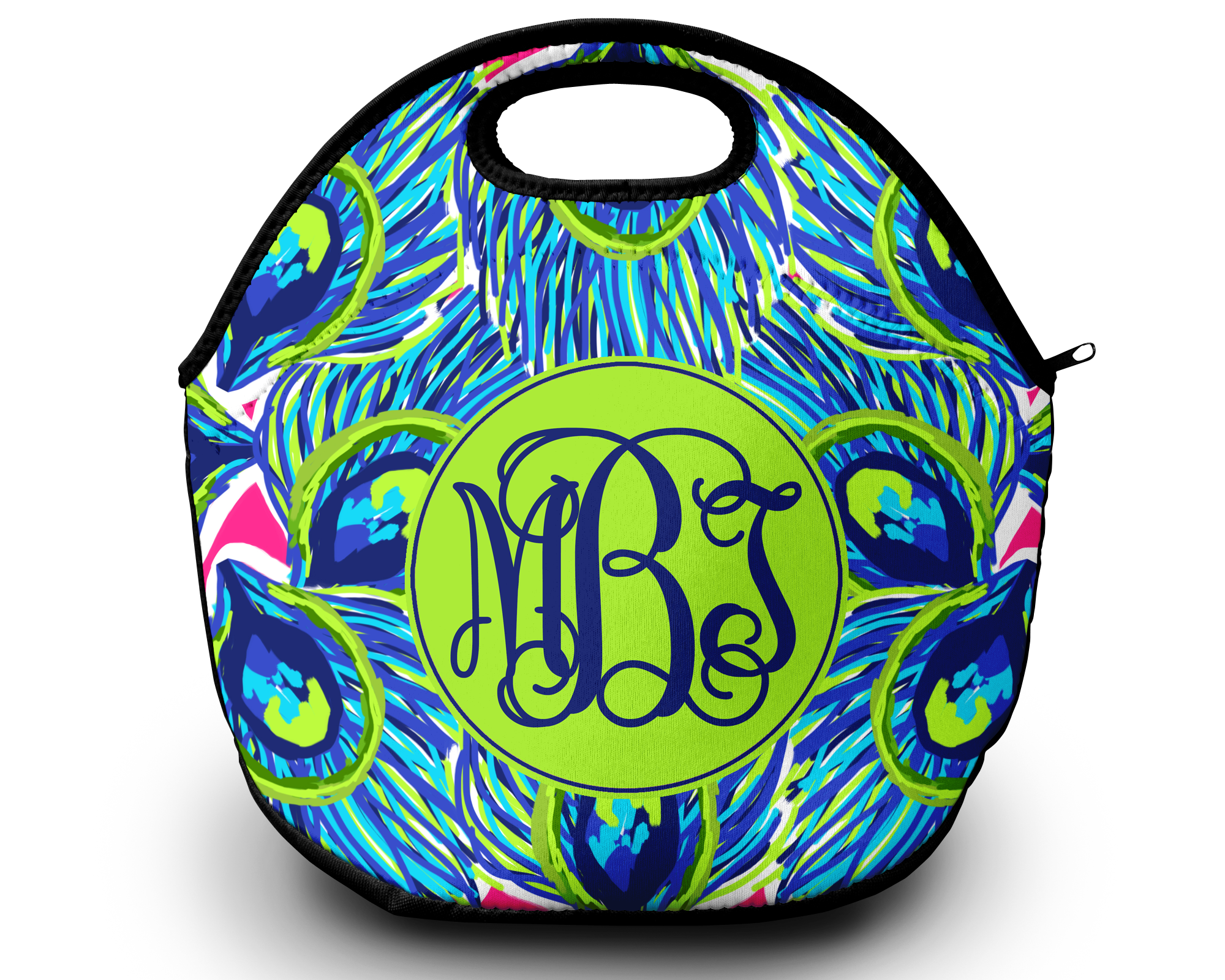 monogram lunch bag pretty in peacock