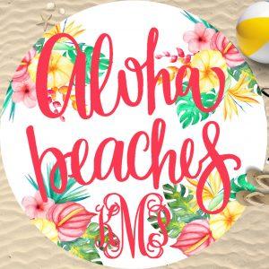 round beach towel mock up 12