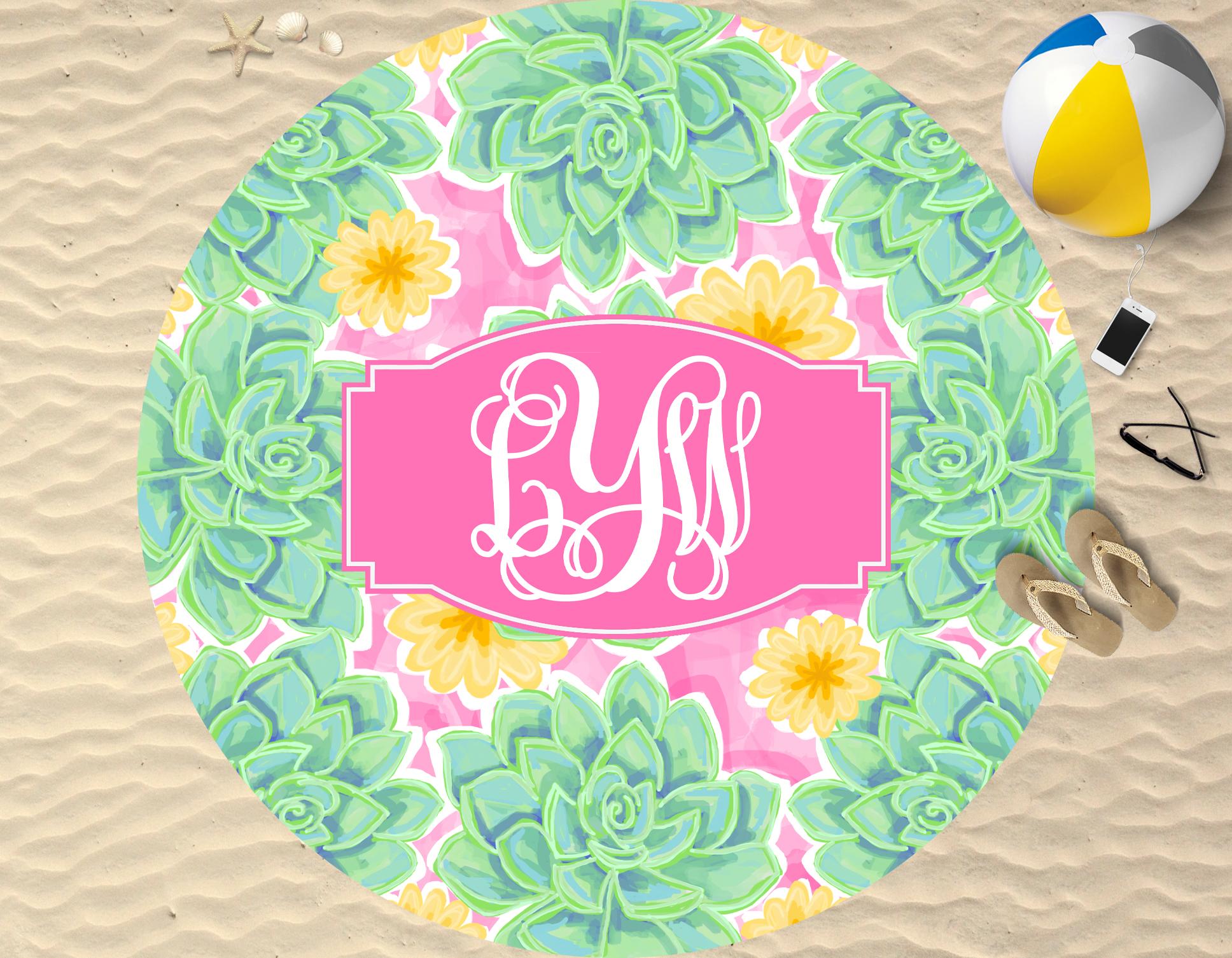 Monogram Round Beach Towel Blue Succulent Sassy Southern