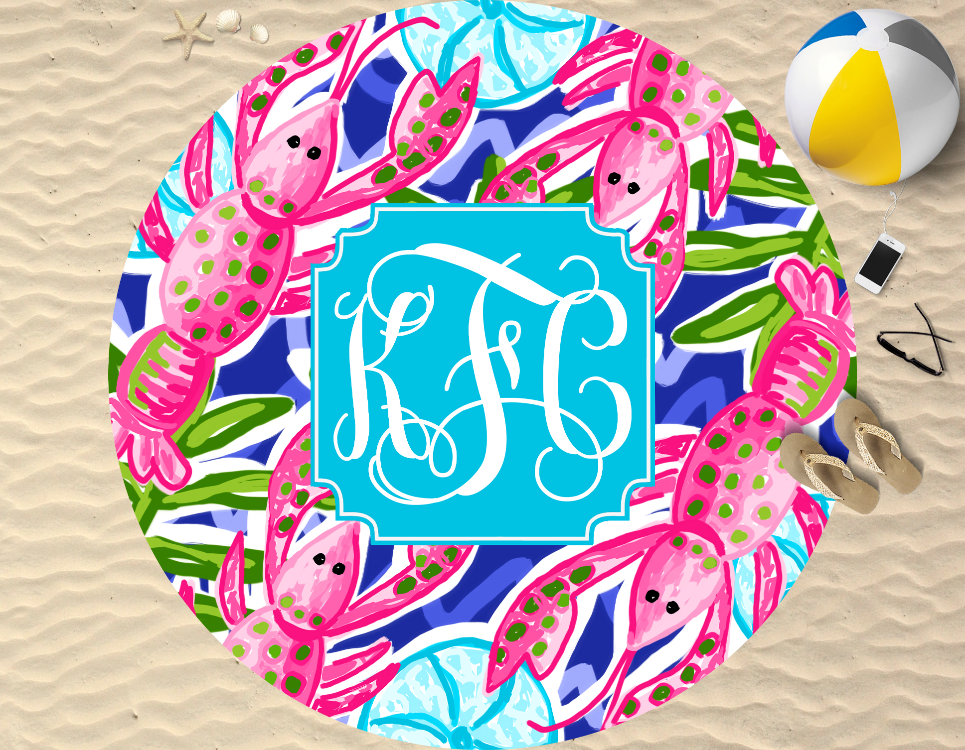 Monogram Round Beach Towel Lobster Love - Sassy Southern Gals