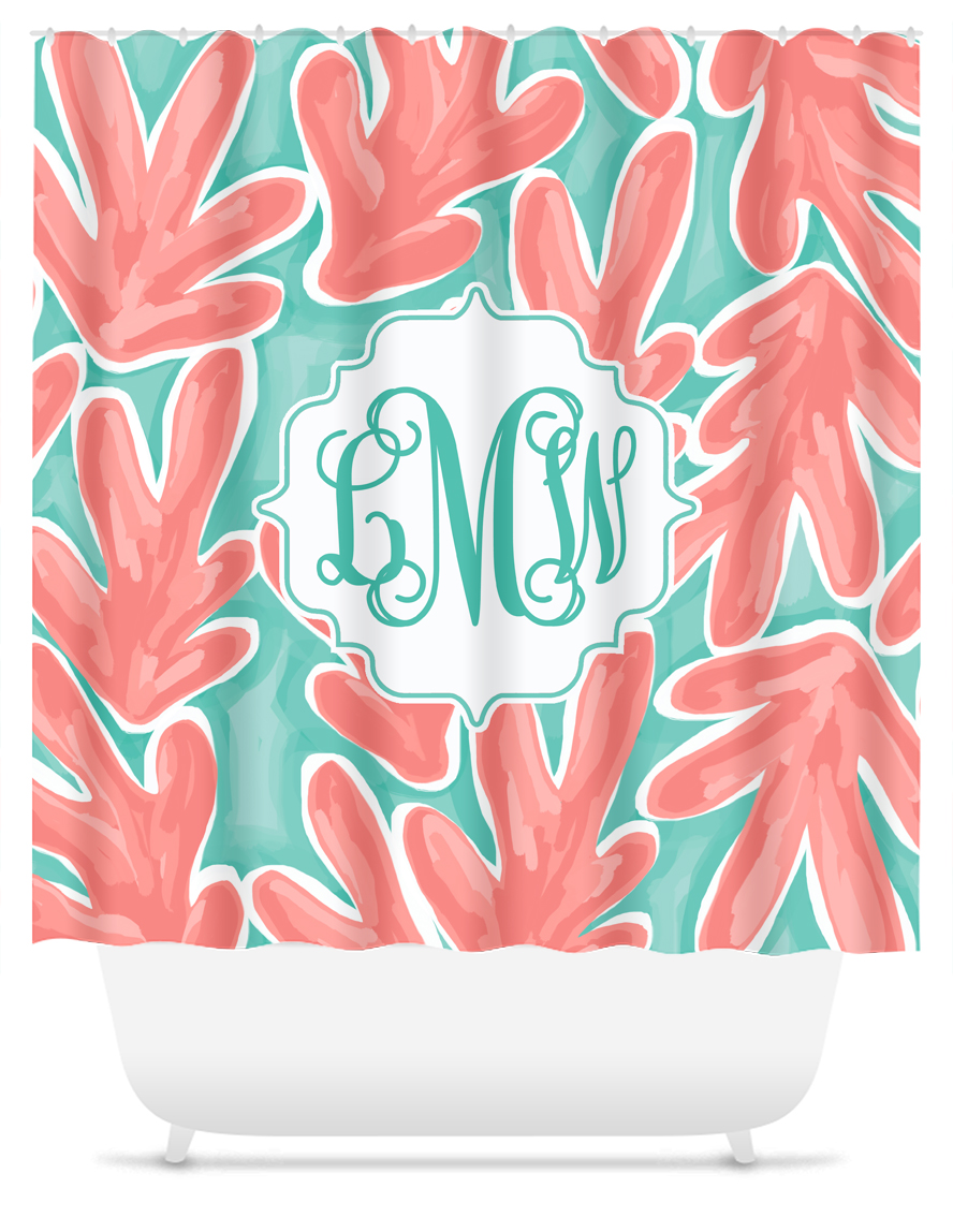 Monogram Shower Curtain Coral Reef
