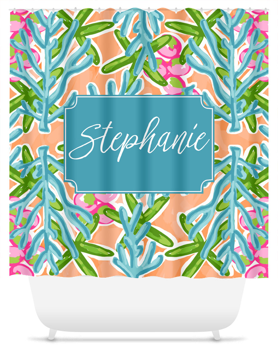 Monogram Shower Curtain Blue Coral Reef