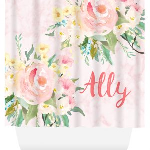 shower curtain pastel flowers and marble