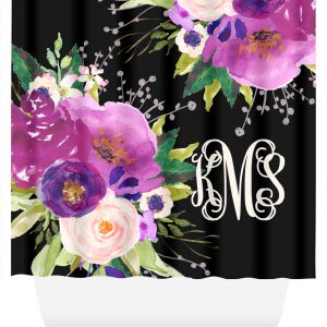 shower curtain purple flowers