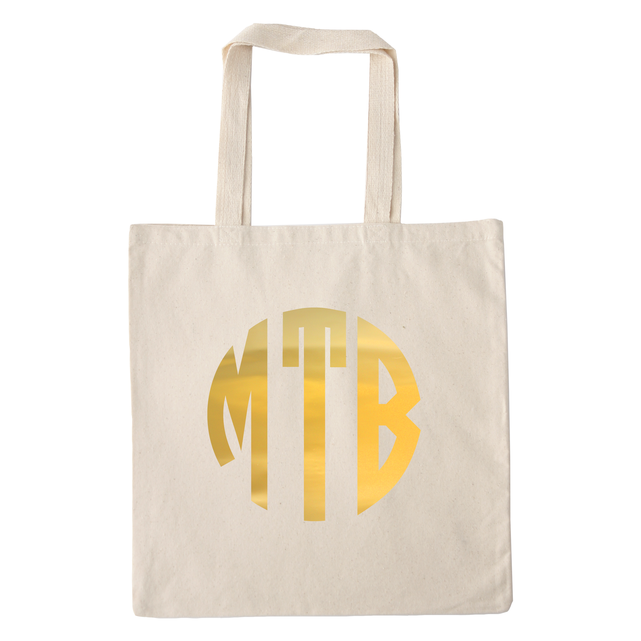 gold foil monogram canvas tote