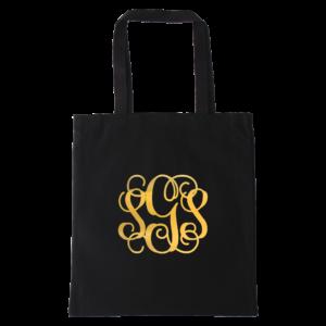 gold foil monogram black tote bag.