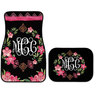 monogram car mats boho flowers