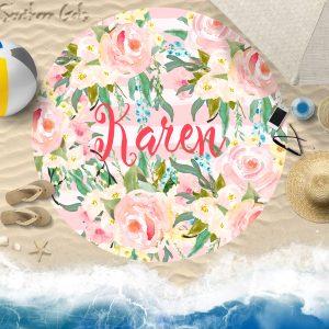round beach towel mock up 3