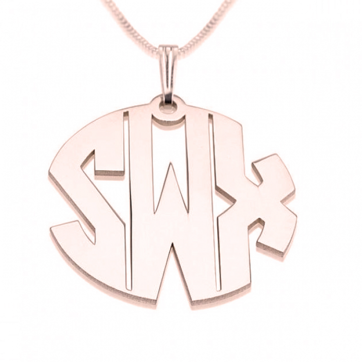 Monogrammed Necklace Rose Gold Plated Circle Collection