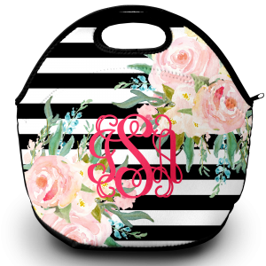 monogram lunch tote black stripes and floral