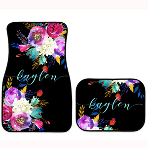 Monogrammed Personalized Car Mats Bright Floral Bouquets