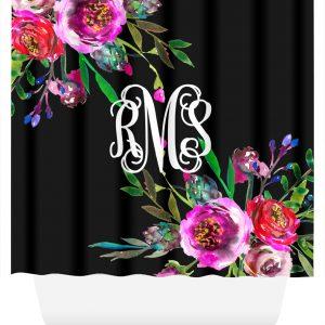 monogram shower curtain bright floral bouquets
