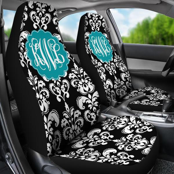 Excellent Monogrammed Car Seat Covers Choose Your Pattern Inzonedesignstudio Interior Chair Design Inzonedesignstudiocom