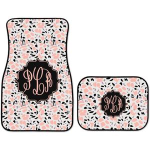 Monogrammed Floor Mats >> Monogrammed Personalized Car Mats Terrazzo Pink Black