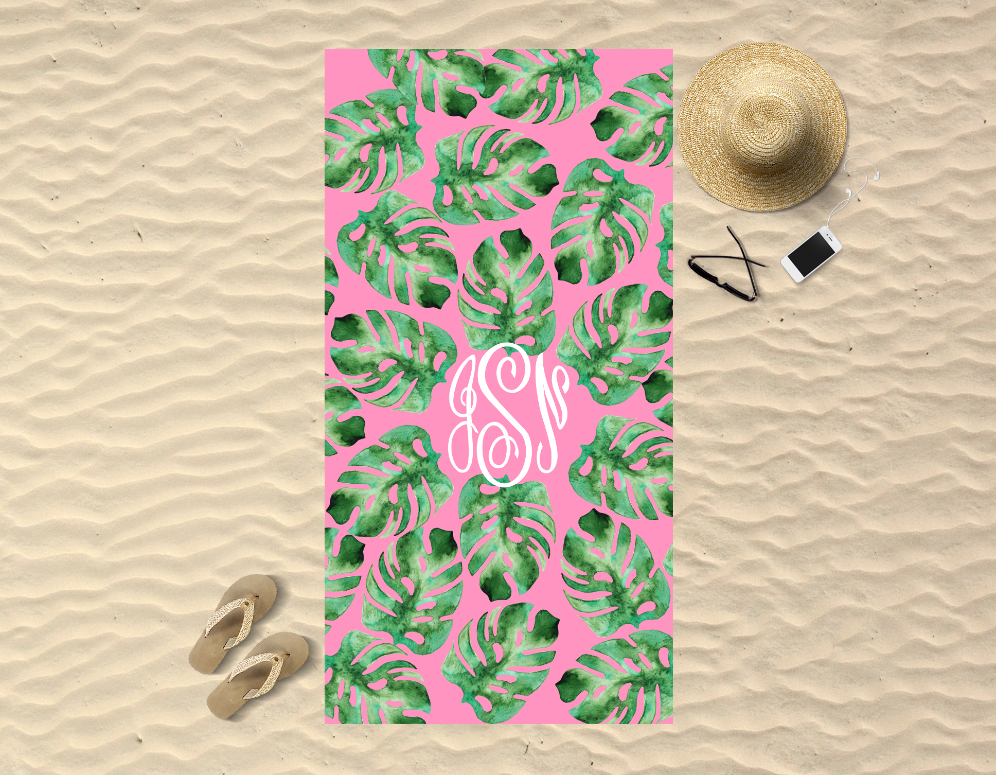Monogrammed Beach Towel Palm Leaf Sassy Southern Gals