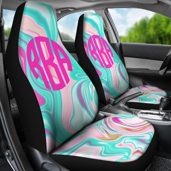 Monogrammed Car Seat Covers Marble Swirl Aqua Sassy Southern Gals