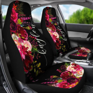 Monogrammed Car Seat Covers Wine Burgundy Florals