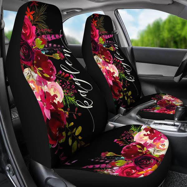 Monogrammed Floor Mats >> Monogrammed Car Seat Covers - Wine & Burgundy Florals ...