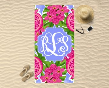 Monogram Beach Towel Pomegranate Pop Sassy Southern Gals