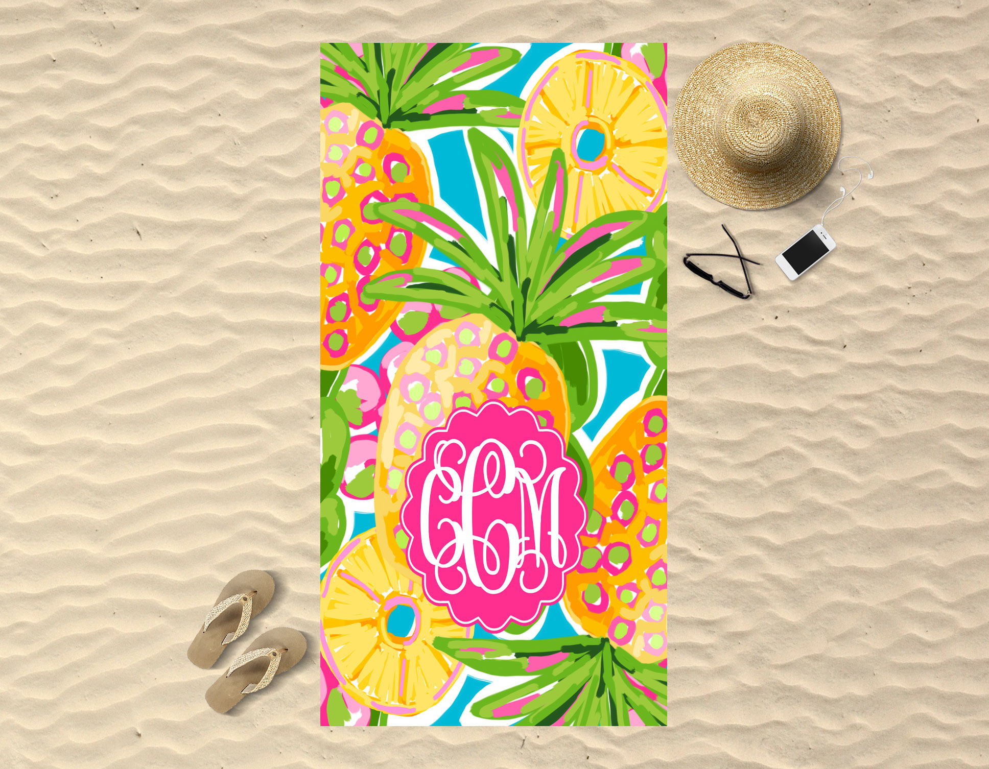 Monogram Beach Towel Pineapple In Paradise Sassy Southern Gals