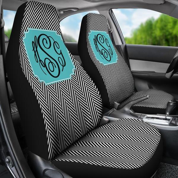 Monogrammed Car Seat Covers Black Herringbone Sassy Southern Gals