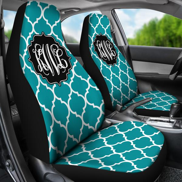 Awesome Monogrammed Car Seat Covers Quatrefoil Inzonedesignstudio Interior Chair Design Inzonedesignstudiocom